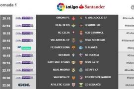 Horarios de la jornada 1 de Primera División