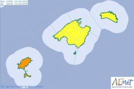 Alerta naranja por fuertes lluvias en las Pitiusas