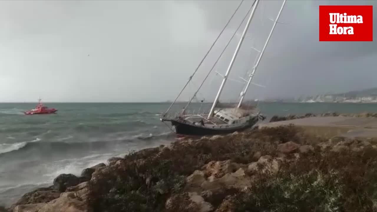 Un gran velero aparece varado en el Paseo Marítimo de Palma