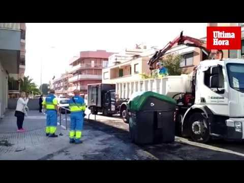 Un agente de Palma herido en otra noche de quema de contenedores