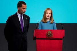 La princesa de Asturias lee en su primera intervención pública el artículo 1 de la Constitución