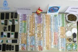 Dinero, droga y móviles incautados