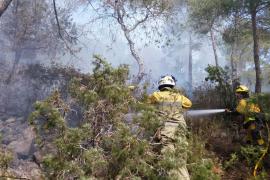 Bomberos y brigadas del Ibanat trabajan en la extinción de un incendio en Benirràs