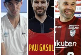 Rafael Nadal, Pau Gasol y Andrés Iniesta