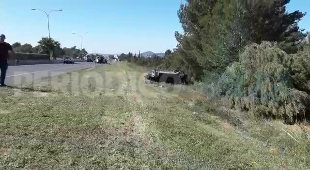 Aparatoso accidente en la carretera de Sant Antoni