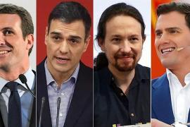 Sánchez, Casado, Iglesias y Rivera celebrarán este lunes su primer debate electoral