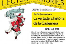 La compañía teatral Té a Tres presenta 'Bibliomaleteca de la vertadera Història de la Cadernera' en Ca n'Oleo
