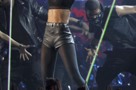 Rihanna performs at the 54th annual Grammy Awards in Los Angeles