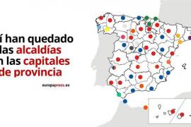 PP pasa de tener 21 a 13 capitales de provincia, PSOE suma tres más, de 17 a 20, y Ciudadanos se hace con tres