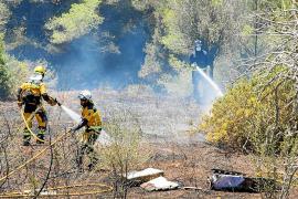 Sobresalto por un incendio forestal en una zona de viviendas en sa Carroca