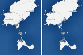 Un aumento de 1,5ºC de la temperatura global arrasaría tres metros de costa de las Pitiusas