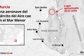 Un avión del Ejército del Aire se estrella en el Mar Menor